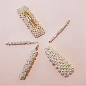 Accessories - 5 gold and pearl statement hair accessories